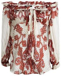 Roberto Cavalli Off White Floral Printed Silk Sheer Long Sleeve Blouse S