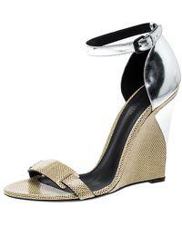 Bottega Veneta Bottge Veneta Cream/silver Lizard And Leather Wedge Sandals - Natural