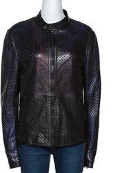 Roberto Cavalli Black Laser Cut Leather Jacket