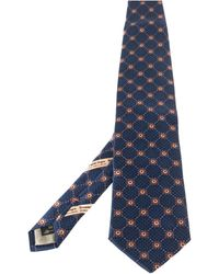Ermenegildo Zegna Disegno Esclusivo Navy Blue Floral Patterned Silk Traditional Tie