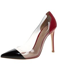 Gianvito Rossi Red/black Patent Leather And Pvc Plexi Pointed Toe Court Shoes
