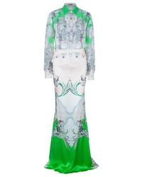 Roberto Cavalli Abstract Silk Chiffon Top And Skirt Set M/s - Green