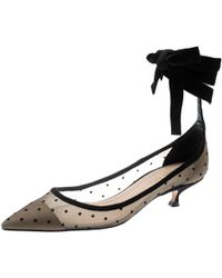 Dior Black Mesh And Suede Lovely D Polka Dot Ankle Wrap Pointed Toe Court Shoes Size 37