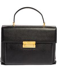 Ferragamo Black Leather Top Handle Bag