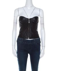 Moschino Cheap And Chic Black Leather Front Zip Corset Top S