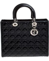 Dior Black Patent Leather Large Lady Tote