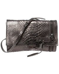Tom Ford Metallic Python Alix Zip And Padlock Shoulder Bag