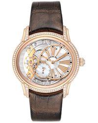 Audemars Piguet Mop Diamonds 18k Rose Gold Millenary 77247or Wristwatch 39.5 Mm - White