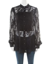 McQ Black Floral Lace Long Sleeve Blouse