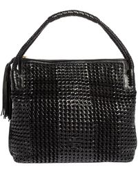 Tory Burch Black Woven Leather Taylor Hobo