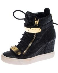 Giuseppe Zanotti Black Croc Embossed Leather Lorenz Wedge High Top Trainers Size 36.5