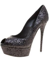 Casadei Black Glitter Peep Toe Platform Court Shoes