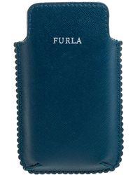 Furla Teal Leather Phone Case - Blue