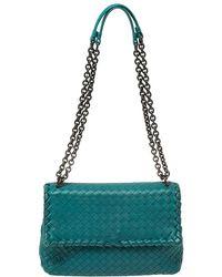 Bottega Veneta Blue Intrecciato Leather Small Olimpia Shoulder Bag