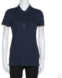 Burberry Brit Navy Blue Cotton Nova Check Trim Polo T-shirt