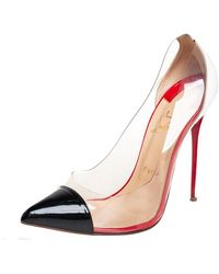 Christian Louboutin - Black/white Leather And Pvc Debout Pumps - Lyst