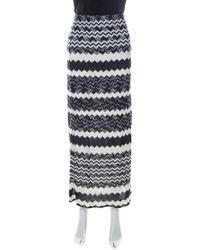 Missoni Bicolor Chevron Crochet Knit Maxi Skirt L - Blue