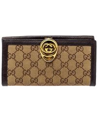 Gucci Beige/brown GG Canvas And Leather G Interlocking Continental Wallet - Natural