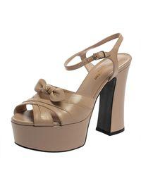 Saint Laurent Saint Laurent Beige Leather Candy Bow Platform Sandals - Natural