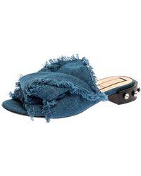N°21 Blue Denim Crystal Embellished Knotted Flat Sandals