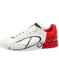 Dolce & Gabbana White/red Leather Logo Painted Sneakers
