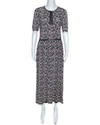 Zadig & Voltaire Black Rivale Print Lace Trim Midi Dress