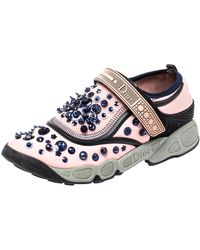 Dior Pink Stretch Fabric Fusion Embellished Low Top Trainers