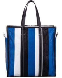 Balenciaga Multicolor Leather Bazar Shopper Medium Tote Bag - Blue