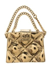 Chanel Cc Quilted Bag Gold Tone Pin Brooch - Metallic