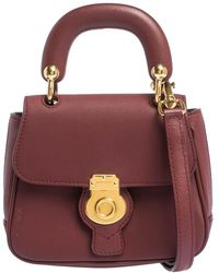 Burberry Burgundy Leather Mini Dk88 Top Handle Bag - Multicolor