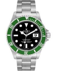 Rolex Black Stainless Steel Submariner Green 50th Anniversary 16610lv Wristwatch 40 Mm