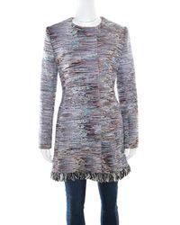 Dior - Cotton Textured Frayed Hem Dress Coat L - Lyst