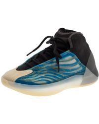 Yeezy Frozen Blue Knit And Suede Qntm Bsktbl High Top Sneakers