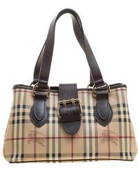 Burberry -  dark Brown Haymarket Check Coated Canvas Shoulder Bag - Lyst ce4439e98833b