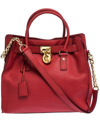 Michael Kors Michael Red Leather Large Hamilton North South Tote