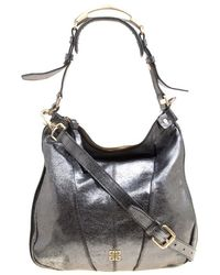 Givenchy Metallic Grey Shimmering Leather Hobo - Gray