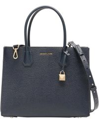 Michael Kors Admiral Pebbled Leather Large Mercer Accordion Tote - Blue