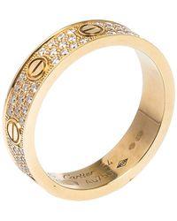 Cartier Love Diamond 18k Rose Gold Wedding Band Ring Eu 54 - Metallic