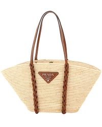 Prada Beige Woven Raffia Basket Bag - Natural
