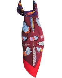 Hermès Bordeaux Printed Silk Plumes Ii Square Scarf - Red