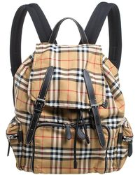 Burberry Beige Vintage Check Nylon And Leather Rucksack Backpack - Natural