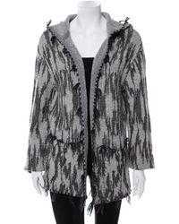 Saint Laurent Gray Ikat Motif Patterned Wool & Linen Hooded Baja Cardigan