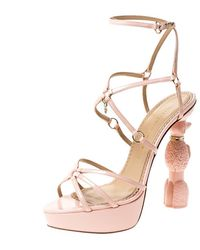 Charlotte Olympia Pink Patent Leather Strappy Platform Sandals Size 40