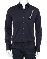 Dolce & Gabbana Navy Blue Cotton Sequin Embellished Guitar Applique Sicilia Shirt