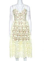 Self-Portrait Pale Yellow Floral Guipure Lace Azaelea Midi Dress L