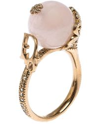 Dior Christian Gold Tone Faux Pearl Ball Crystal Embellished Ring - Metallic