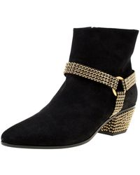 Rene Caovilla Black Suede Crystal Embellished Pointed Toe Ankle Boots