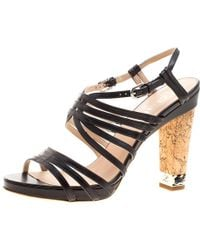 66b44ef630e8 Chanel - Leather Chain Detail Cork Heel Strappy Sandals - Lyst