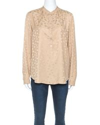 Stella McCartney Beige Jacquard Button Front Mandarin Collar Shirt - Natural