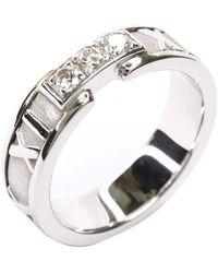 Tiffany & Co. Atlas Diamond 18k White Gold Band Ring